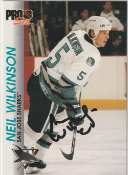 Neil Wilkinson Autograph 1992-93 Pro Set Hockey Card