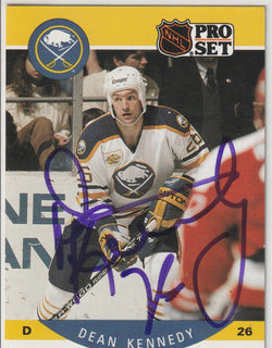 Dean Kennedy Autograph 1990-91 Pro Set Hockey Card