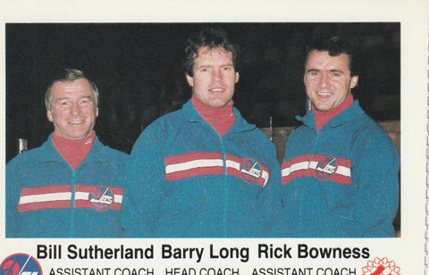 Bill Sutherland, Barry Long, Rick Bowness Winnipeg Jets Police Team Issued Card