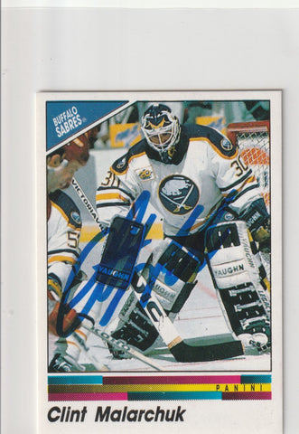Clint Malarchuk Autograph 1990-91 Panini Hockey Sticker