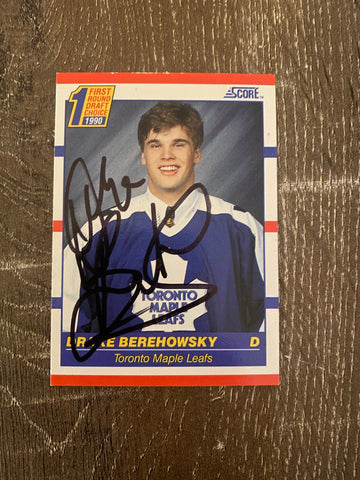 Drake Berehowsky Autographed 1990-91 Score Hockey Card