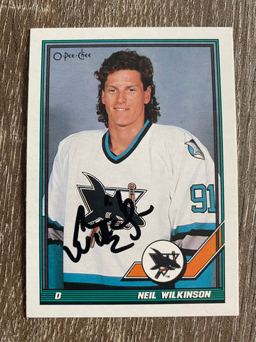 Neil Wilkinson Autograph 1991-92 O-Pee-Chee Hockey Card