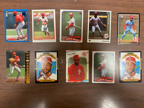 Ozzie Smith 10 Baseball Card Lot