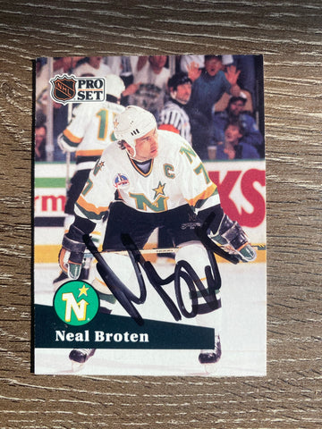 Neal Broten Autographed 1991-92 Pro Set Hockey Card