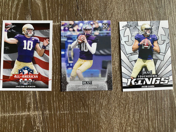 Jacob Eason 2020 Leaf Draft Football 3 Card Lot