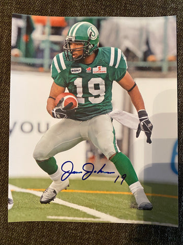 James Johnson Autograph Saskatchewan Roughriders 8x10 Photo