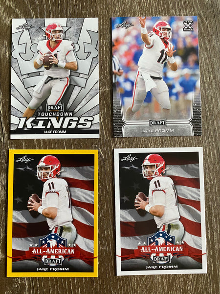 Jake Fromm 2020 Leaf Draft Football 4 Card Lot