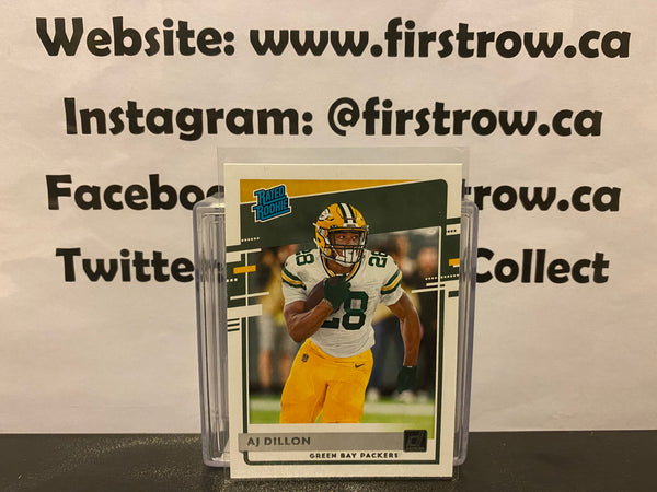 AJ Dillion 2020 Donruss Rated Rookie Parallel Green Bay Packers #324 RC