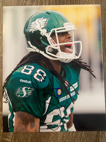 Taj Smith Autograph Saskatchewan Roughriders  8x10 Photo