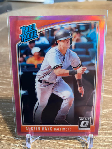 Austin Hays 2018 Panini Donruss Optic Rated Rookies Pink #58 Rookie Card