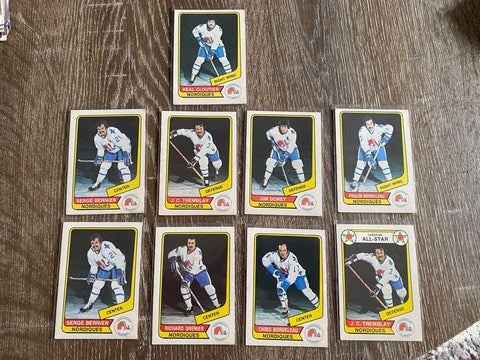 Quebec Nordiques WHA 1976-77 O-Pee-Chee 9 Card Lot