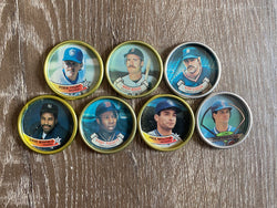 1987 Topps Baseball Metal Bottle Cap Discs - Lot of 7