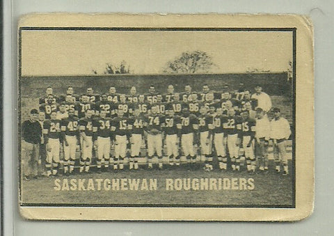 Saskatchewan Roughriders 1962 Topps CFL Team Checklist
