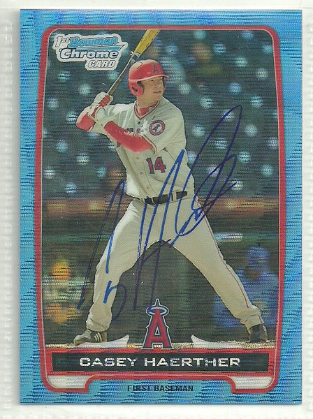 Casey Haerther Autograph 2012 Bowman Chrome Refractor Card