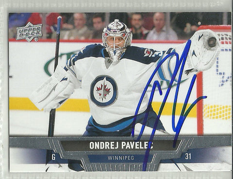 Ondrej Pavelec Autograph 2013-14 Upper Deck Hockey Card