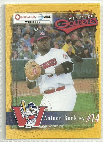 Antuan Bunkley 2001 Winnipeg Goldeyes Team Issued Card