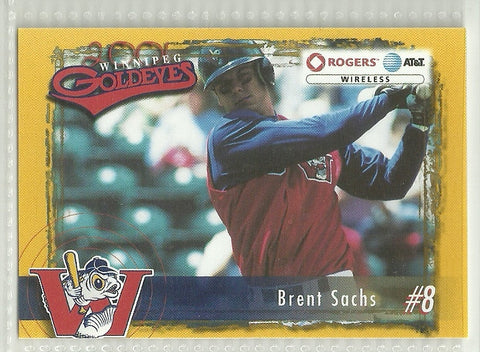 Brent Sachs 2001 Winnipeg Goldeyes Team Issued Card