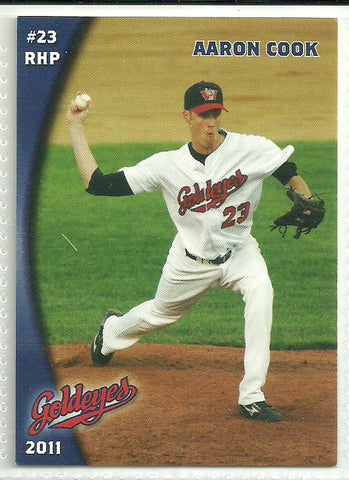 Aaron Cook 2011 Winnipeg Goldeyes Team Issued Card