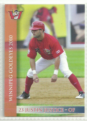 Justin Justice 2010 Winnipeg Goldeyes Team Issued Card