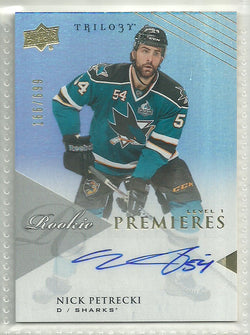 Nick Petrecki Autograph 2013-14 Upper Deck Trilogy Card