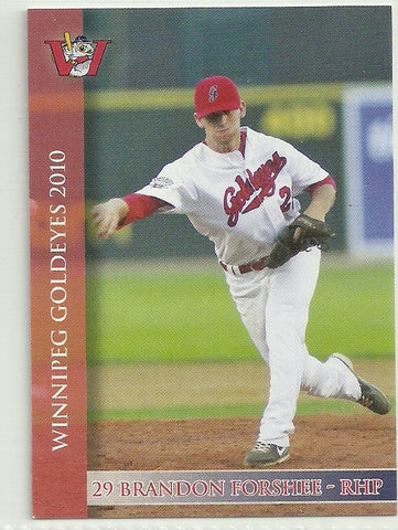 Brandon Forshee 2010 Winnipeg Goldeyes Team Issued Card