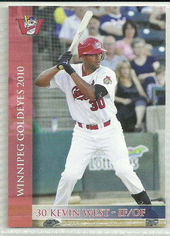 Kevin West 2010 Winnipeg Goldeyes Team Issued Card