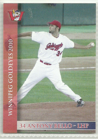 Anthony Bello 2010 Winnipeg Goldeyes Team Issued Card