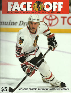 Bernie Nicholls - Chicago Blackhawks Face Off Official Game Program 1995