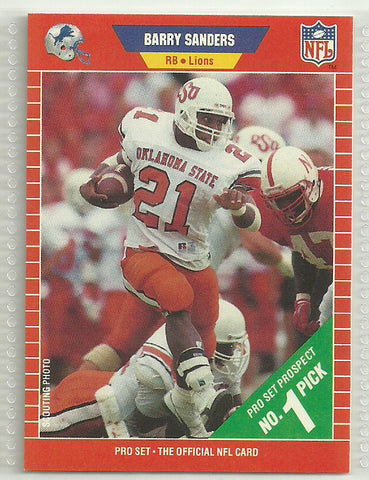 Barry Sanders 1989 Pro Set Rookie Card #494