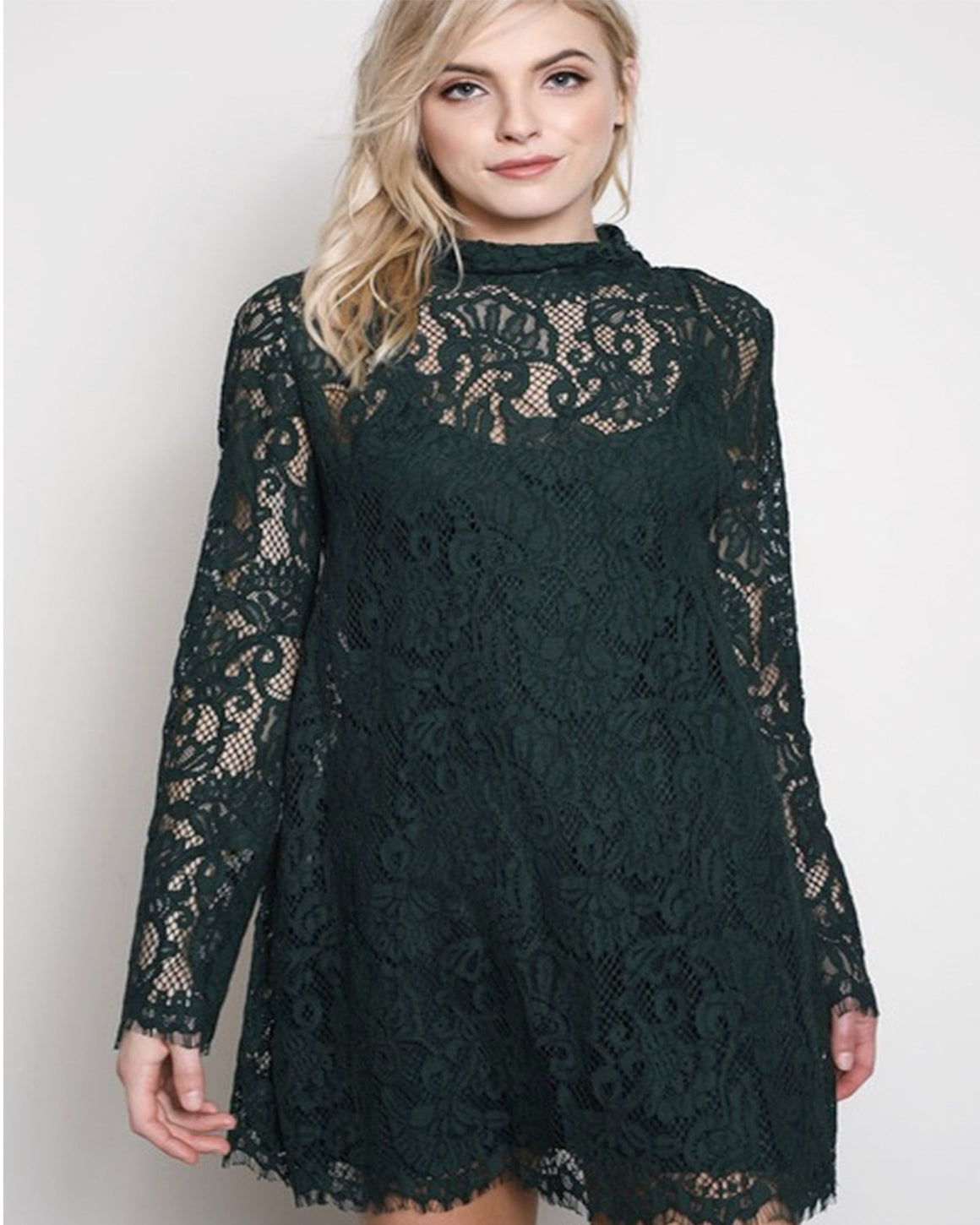 Deep Forest Green Lace Dress