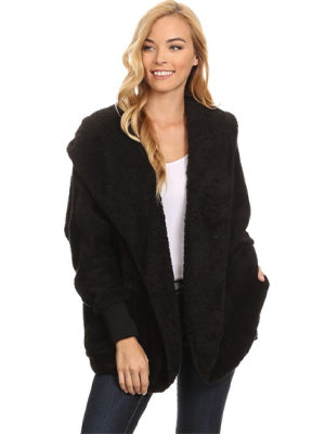 Fuzzy Faux Fur Jacket - Black and Olive