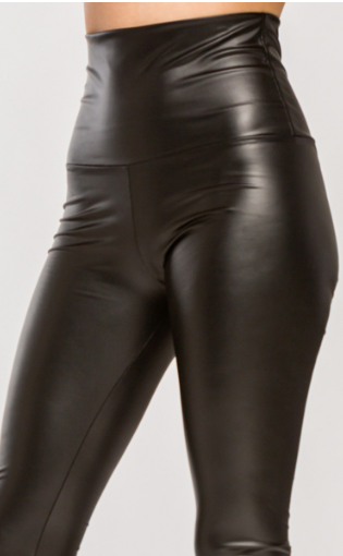 Faux Leather High Waist Fold Over Leggings