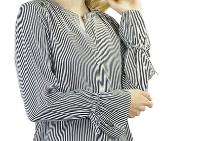 Printed Stripe Tie Sleeve Top