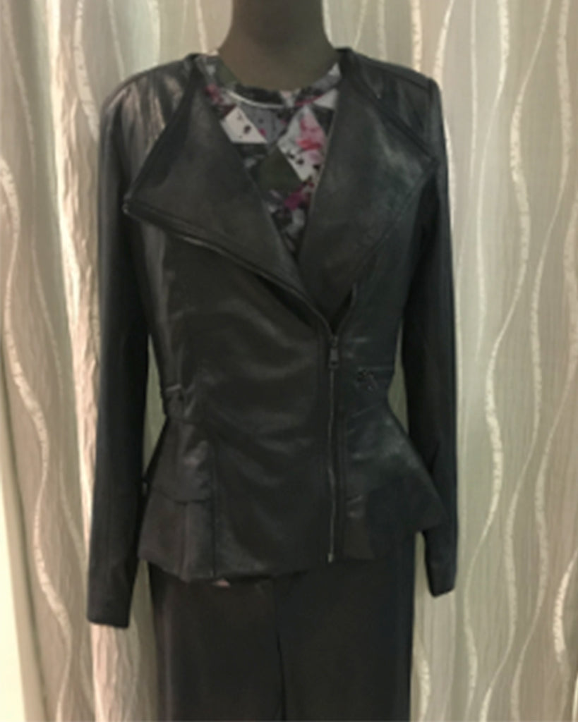 Renuar Faux Leather Peplum Jacket