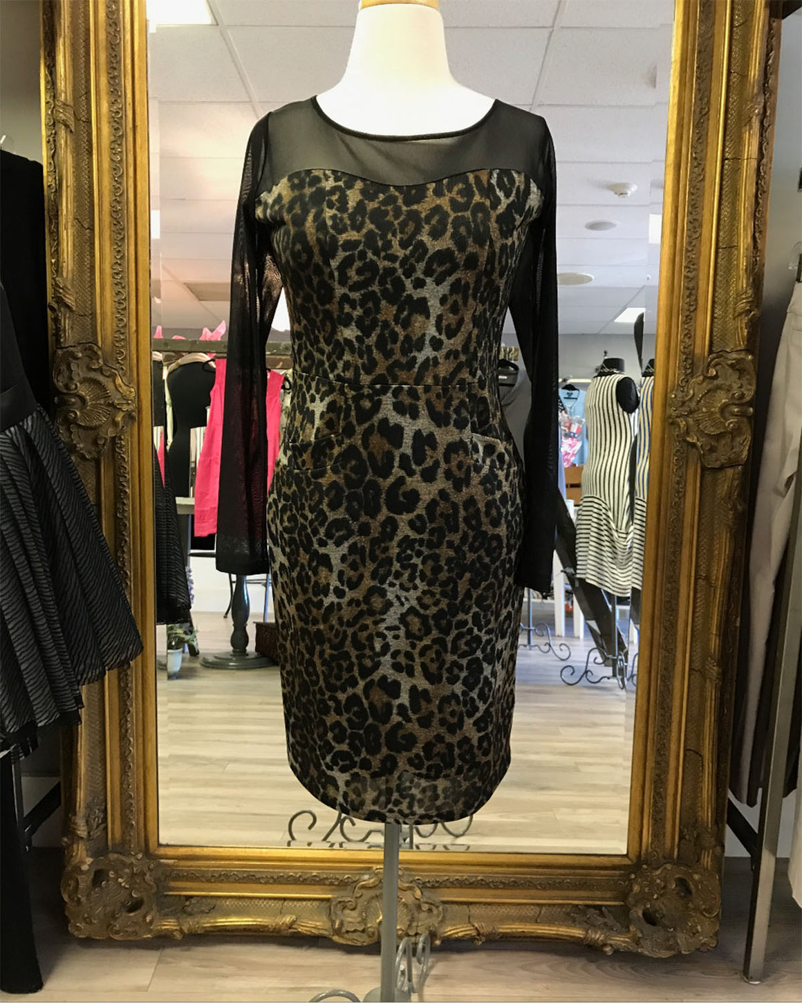 Joesph Ribkoff Cheetah Print Mesh Dress