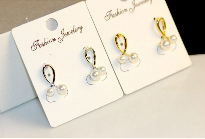 Delightful Cross Over Pearl Silver Earrings, 18K Gold Plated Allergy Free