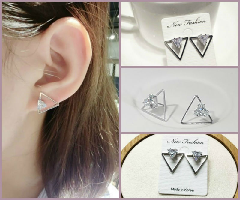 Contemporary Triangle Shape Crystal Earrings