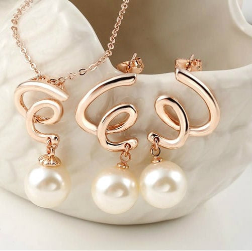 Graceful Pearl 18K 3 Times Rose Gold Plated Jewellery set Venust