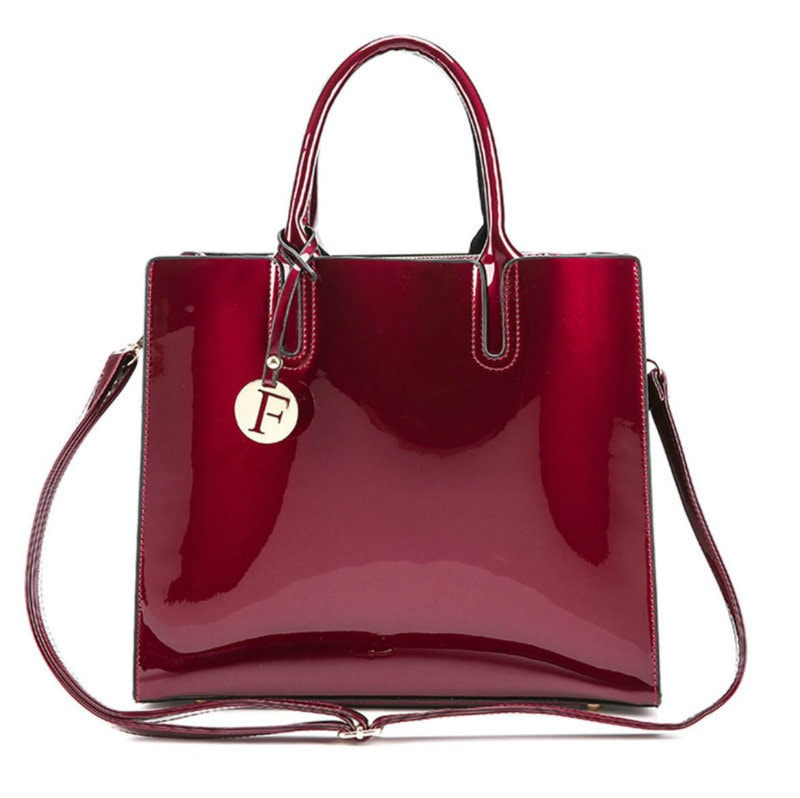 ... Patent Leather Large Tote Bags 3 Pieces set Red Colour ... 9b78e7d659