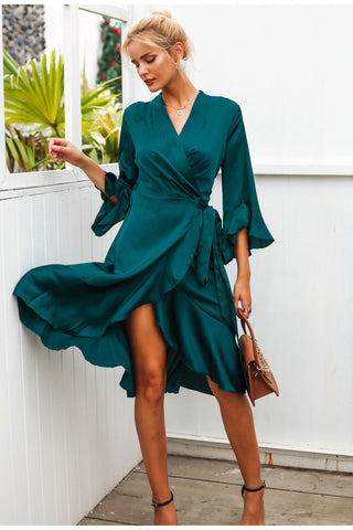 Emerald Wrap Dress