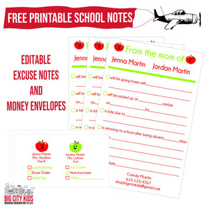 Free Back To School Money Envelopes and Excuse Notes!