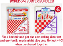 boredom buster bundle featuring play diner menu set and the play  movie theater play set