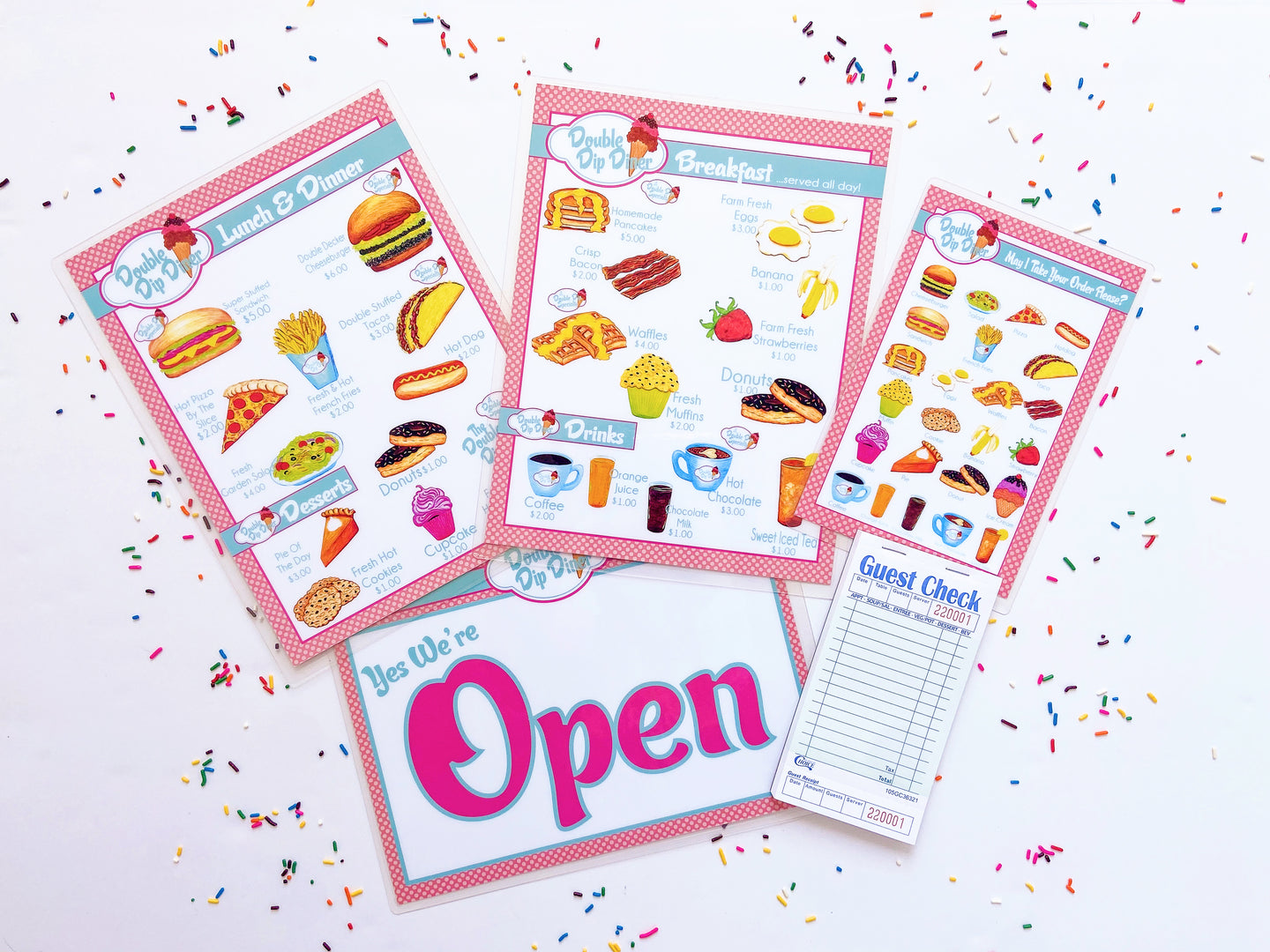 Pretend Play Diner Restaurant Menu Set Big City Kids