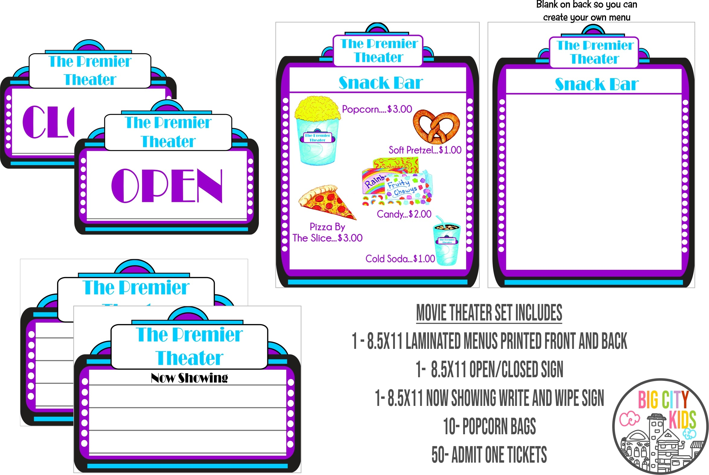 Pretend Play Movie Theater Set