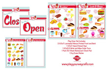image showing whats included in the play diner set. Includes 2 menus printed breakfast on one side and lunch and diner on the other side, an open/close sign and a dry erase order form