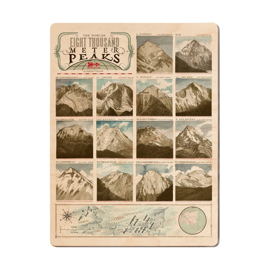 8000 Meter Peaks Wood Print - The Meridian Line