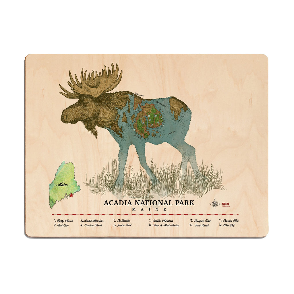 Acadia Moose Wood Print - The Meridian Line