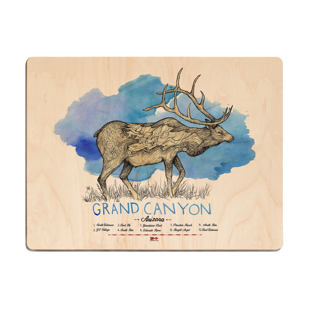 Grand Canyon Elk Wood Print - The Meridian Line