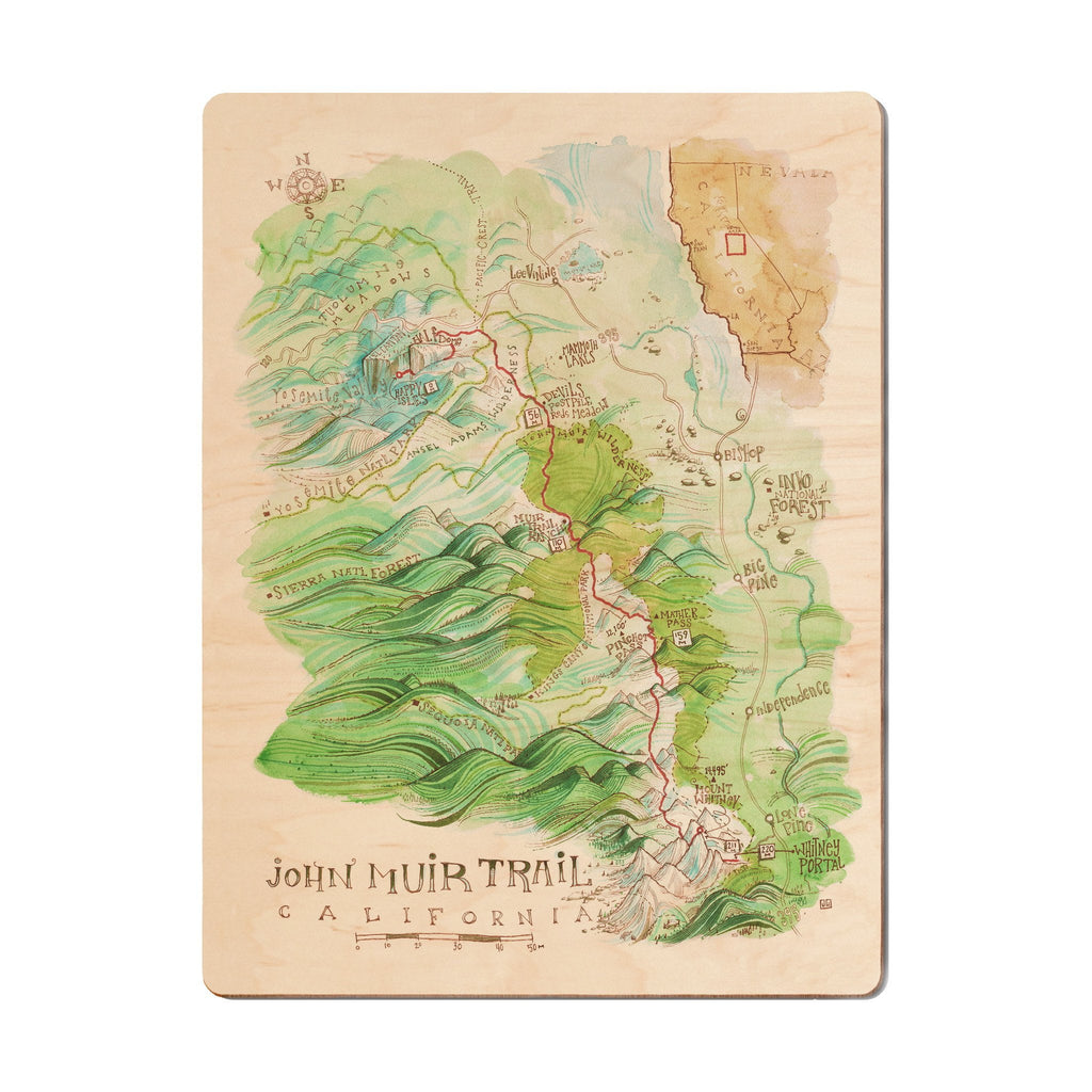 John Muir Trail Wood Print - The Meridian Line