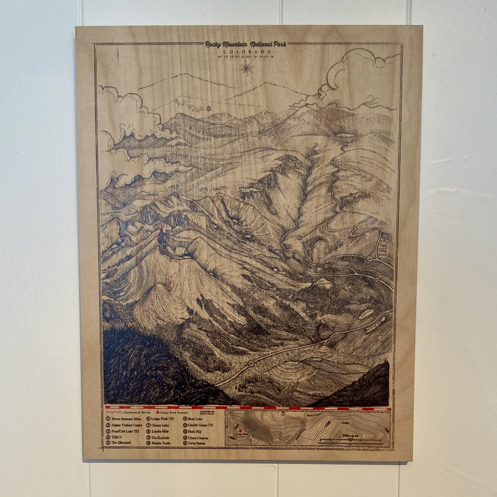 Rocky Mountain National Park Map Wood Print